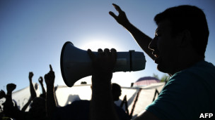 Grevista na Bahia. AFP
