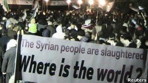 Manifestação em Homs. Reuters