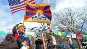 习近平访美西藏支持者抗议