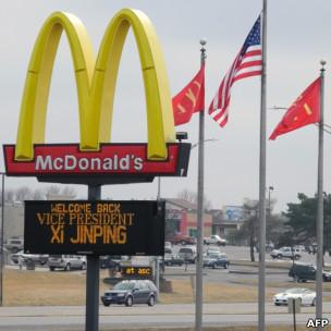 艾奥瓦州州马斯卡廷小镇竖立的欢迎习近平到访的告示牌(15/02/2012)