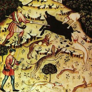 Ilustración de cazadores de jabali
