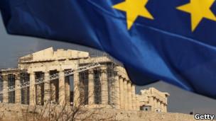 Bandera de la UE en Atenas