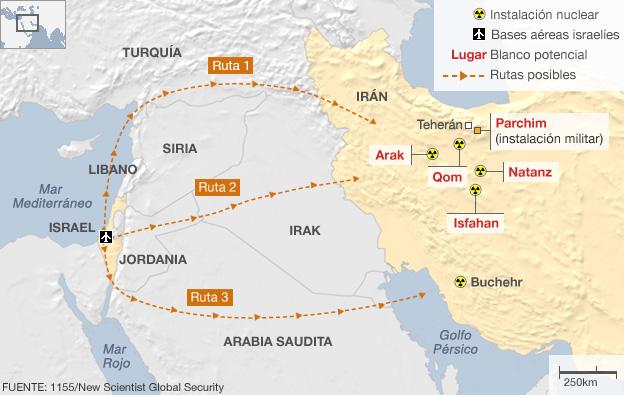 Mapa con posibles rutas para un ataque de Israel a Irán