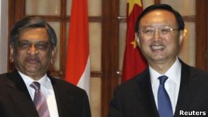 中国外长杨洁篪与印度外长克里希纳