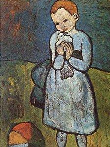 """لوحة """"الطفلة واليمامة"""" لبيكاسو"""