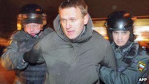 被捕者当中包括著名的反腐败活动人士纳瓦尔尼。(05/03/2012)