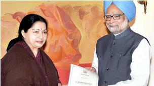 CM Jayalalitha with PM Manmohan Singh