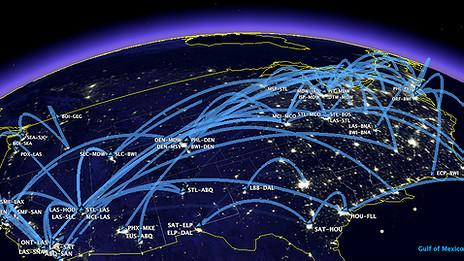 Rutas de aerolíneas en EE.UU.