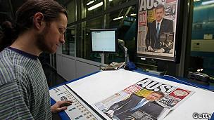 Técnico de la imprenta del diario alemán Bild.