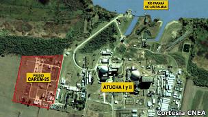 Mapa de las centrales nucleares de Argentina.