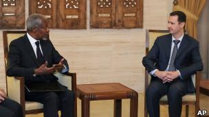Assad e Annan. AP