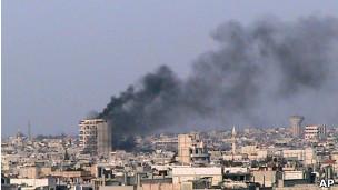 Incêndio em Homs, na Síria, em 9 de março. | Foto: AP