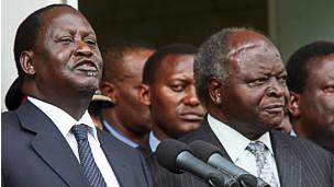 Raila Odinga na Mwai Kibaki