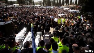 تشییع جنازه کشته شدگان حمله به مدرسه در اسرائیل