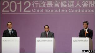 香港行政长官选举期间举行问答会三位候选人唐英年、何俊仁和梁振英