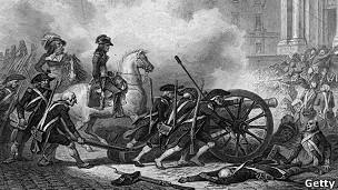 Napoleón dirige las tropas durante la toma de la iglesia de SAint Roche en París durante la revolucion francesa