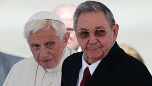 Benedicto XVI y Raúl Castro