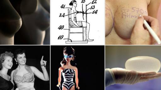 Composição de imagens sobre implantes mamários e modelos de seios, incluindo um projeto de dispositivo para aumentar os seios, de 1929, invenção de Peggy Bbowh, patente americana 1795073