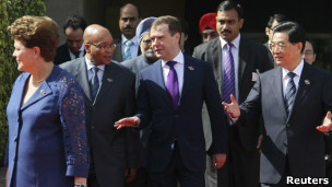 Líderes dos Brics durante cúpula na Índia, nesta quinta-feira (Reuters)