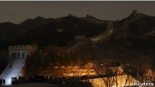 Grande Muralha da China durante a a Hora do Planeta. | Foto: Reuters