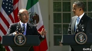 Felipe Calderón (izqda) y Barack Obama, presidentes de México y EE.UU.
