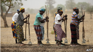 Mulheres constroem dique em região empobrecida do Sahel, na Burkina Fasso (AFP)