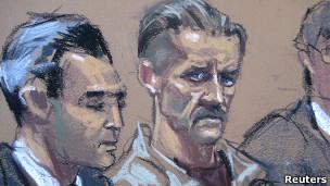 Виктор Бут в зале суда в Нью-Йорке - скетч