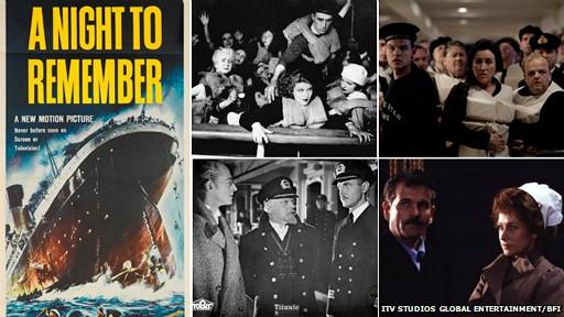 Composición de imágenes de las películas sobre el Titanic: De derecha a izquierda - A Night to Remember cartel de la película (1958), Atlántico (1929), imagen de ITV Titanic (2012), imagen de SOS Titanic (1979), imagen del llamado 'nazi Titanic' (1943)
