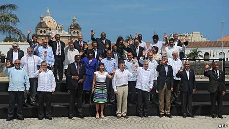 Foto de los líderes en la Cumbre de las Américas en Cartagena de Indias.