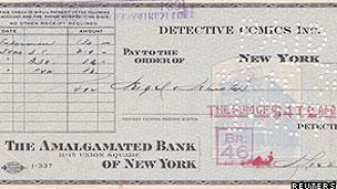 Cheque de US$ 130 que comprou os direitos do Super-homem (Reuters)