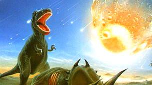 Dinosaurio ante el impacto de un asteroide D. VAN RAVENSWAAY/SCIENCE PHOTO LIBRARY