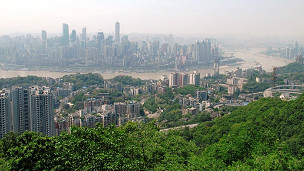 從南山俯瞰重慶市與長江景色