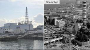 Fukushima (trái) và Chernobyl
