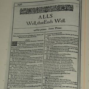 Fac-símile da primeira edição de 'Tudo Vai Bem Quando Termina Bem, de 1623