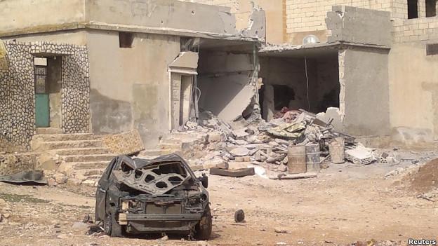خانه تخریب شده در روستای تفتناز در استان ادلب سوریه