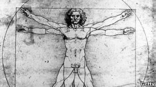 Clásico dibujo del cuerpo humano de Leonardo da Vinci