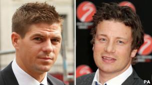 Steven Gerrard y Jamie Oliver