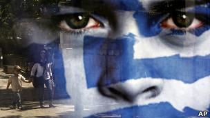 Rostro con bandera griega