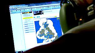 Computadora a bordo del avión del Centro Meteorológico del Reino Unido