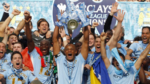 Wachezaji wa Manchester City wakishangilia ubingwa