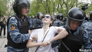 Protesta en la antesala de la toma de posesión de Vladimir Putin
