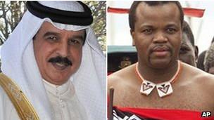 پادشاه بحرین (چپ) و پادشاه سوازیلند