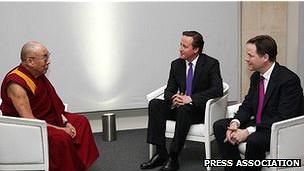 Đạt Lai Lạt Ma, David Cameron và Nick Clegg ở London