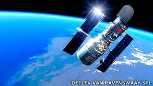 Ilustración mostrando el Telescopio Espacial Hubble Imagen: SPL