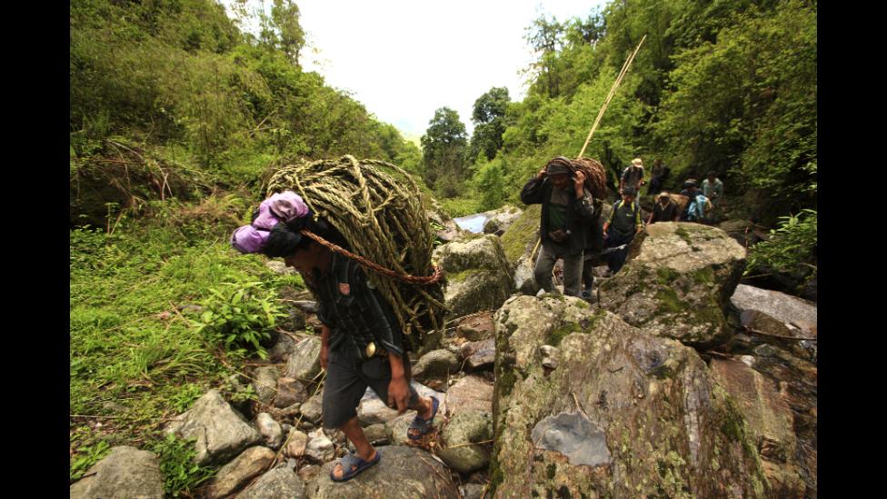 Nepaleses arriesgan su vida para recolectar miel