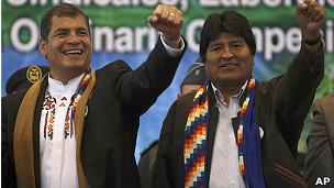 Rafael Correa y Evo Morales, presidentes de Ecuador y Bolivia respectivamente.