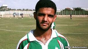 Jogador palestino Al-Sarsak. Cortesia ONG Addameer