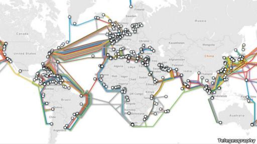 Mapa de cables de fibra optica