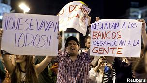 Protestas contra el rescate bancario en España