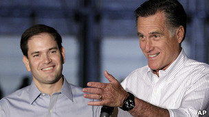 Marco Rubio y Mitt Romney